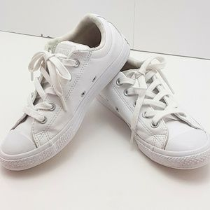 Converse All Star ~ Women's  White Leather Shoes S
